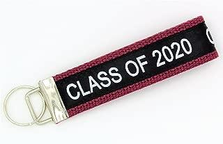 Class of 2020 Wristlet Key Fob Keychain Burgundy
