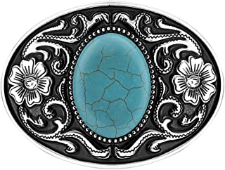 QUKE American Western Cowboy Turquoise Belt Buckle for Men