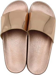 Y&D Gold Slides Slipper For Women