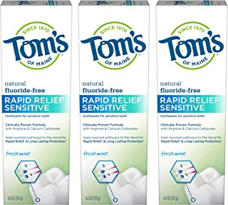Tom's of Maine Fluoride-Free Rapid Relief Sensitive Toothpaste, Natural Toothpaste, Sensitive Toothpaste, Fresh Mint, 4 Ou...