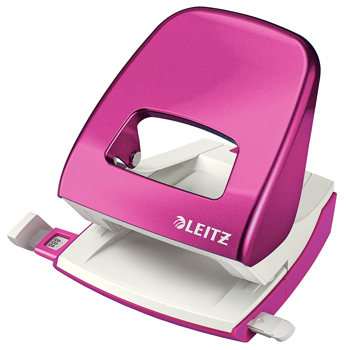 Leitz Hole Punch, Guide Bar with Format Markings, Metal, Wow Range 30 Sheets