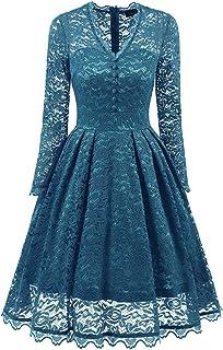 Taiquan South Africa V-Neck lace Dress Retro Fashion Slim Models,Turquoise,XXL