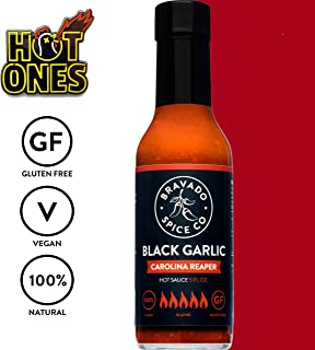 Bravado Spice Black Garlic Carolina Reaper | Hot Ones Hot Sauce | Gluten Free | Vegan | All Natural