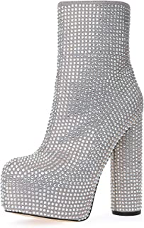 Women's Ankle Boots Round Toe Rhinestone Crystal Platform Mid-Calf Bootie Cylinder Block High Heeled