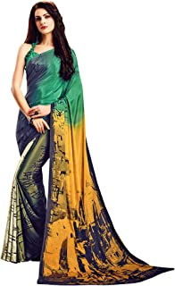 Jaanvi fashion Women's Crepe Printed Saree with Unstitched Blouse(extreme-7504-c)