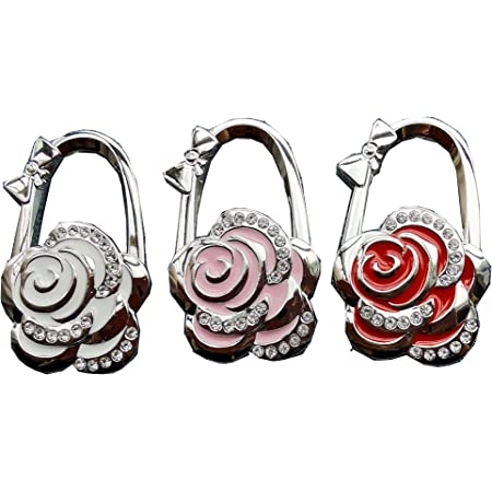 Beacone Rose Flower Shape Handbag Hanger Foldable Purse Hook BagTable Hook Holder Hanger Hook