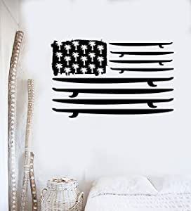 Vinyl Wall Decal Surfing Surfboard Flag Palms Ocean Surf Stickers Large Decor (ig3790) Black