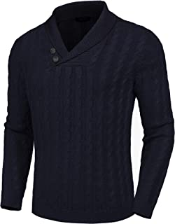 COOFANDY Men's Shawl Collar Pullover Sweater Slim Fit Casual Button Cable Knit Sweaters