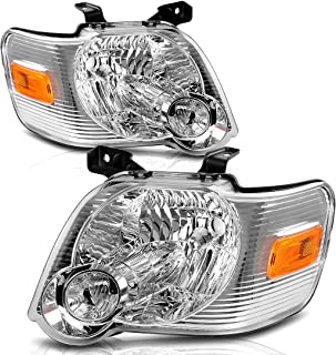 For 2006-2010 Ford Explorer Headlight Replacement Chrome Housing with Amber Reflector (Driver and Passenger Side)