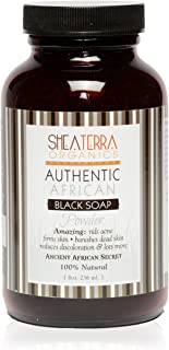 Shea Terra Organics African Black Soap Powder | Natural Skin Care for Acne, Eczema, Dry Skin, Psoriasis, Wrinkles, and More - Home Spa Treatment Full Body Wash - 8 oz