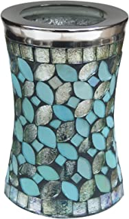 nu steel SF5H Sea Foam Collection Tumbler Cup, Holder for Makeup, Toothbrushes, Brushes On Bathroom, Vanity Countertops, College Dorm, Glass Mosaic with Aqua Finish