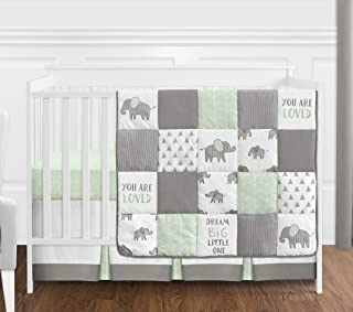 Sweet Jojo Designs Mint, Grey and White Watercolor Elephant Safari Baby Unisex Crib Bedding Set Without Bumper - 4 Pieces
