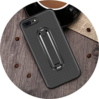 HANBINGPO Hidden Kickstand Holder Phone Case for iPhone 6 6s 7 8 Plus Carbon Fiber Soft TPU Cover for iPhone X XS XR Xs Max 5 5s SE,Black,for iPhone XR