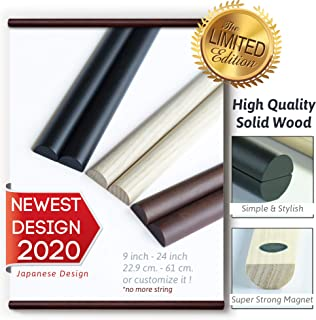 "CODE NINE Poster Hanger Frame, 24"" 24X18 24X32 24X36 etc, Strong Magnetic Light Solid Wood for Canvas Artwork Print Photo etc. (Brown (Walnut), 24"")"