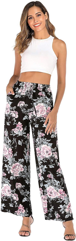 Love Welove Fashion Women's Summer Wide Leg Elastic High Waist Printed Boho Hippie Palazzo Pants Plus Size