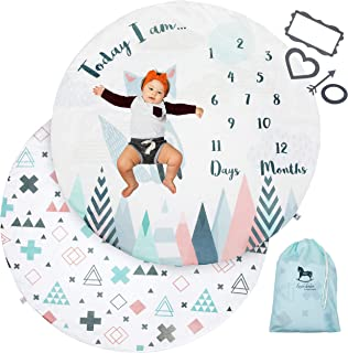Luxe Bébé Baby Monthly Milestone Blanket + Reversible Playmat | Modern Baby Milestone Blanket Includes Photo Props + Travel Bag | Best for New Moms | for Newborn Baby Boy or Baby Girl