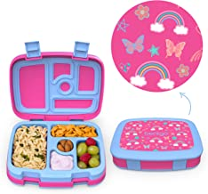 Bentgo Kids Prints Leak-Proof, 5-Compartment Bento-Style Kids Lunch Box - Ideal Portion Sizes for Ages 3 to 7 - BPA-Free, Dishwasher Safe, Food-Safe Materials (Rainbows and Butterflies)