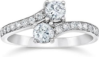 FOREVER 美国尺码两颗宝石圆形钻石1.00克拉钻戒戒指14K 白金