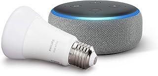 Echo Dot (3ª generazione, tessuto grigio mélange) + Philips Hue White Lampadina LED Connessa, Attacco E27, Dimmerabile, Lu...