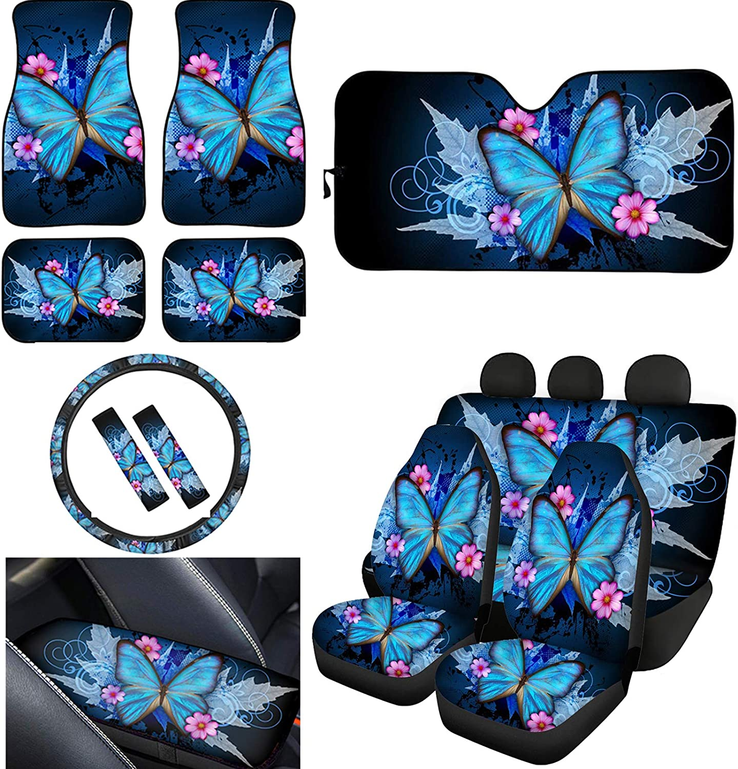 TOADDMOS Chic Blue Butterfly Tucson Mall Bargain Floral Car Se Covers Seat Universal