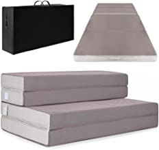 Best Choice Products 4in Thick Folding Portable Queen Mattress Topper w/Carry Case, High-Density Foam, Washable Cover