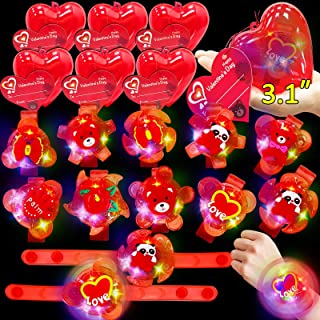 "Sponsored Ad - 28 Pack Light Up Rotating Bracelets Valentines Bear Fidget Toy Filled 3.1"" Large Heart with Valentines Card..."