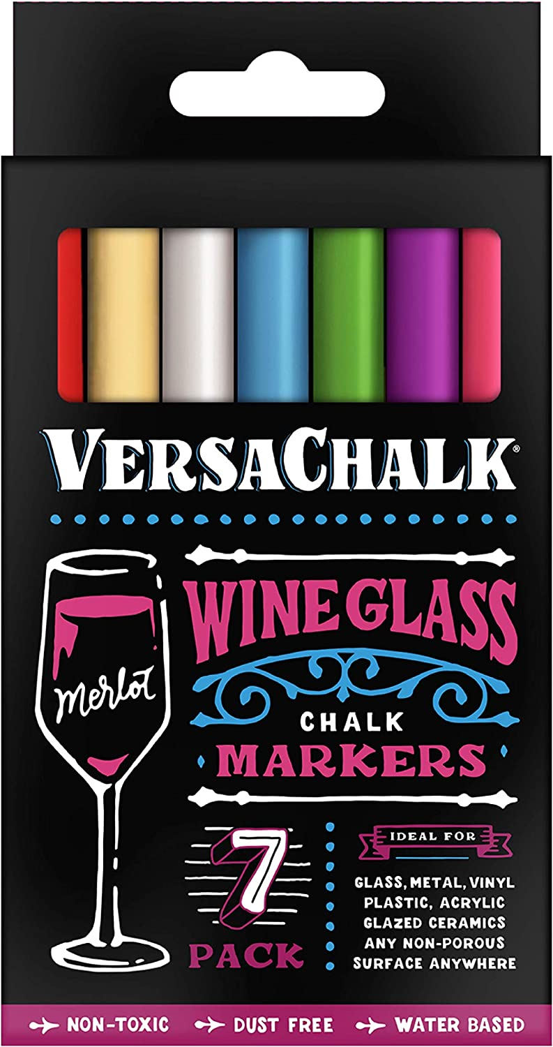 Washable Wine Glass Pens by VersaChalk Max 59% OFF Product - 7 Erasable Colo Vibrant