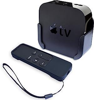 حامل تلفزيون من هوم إيدج متوافق مع أبل تي في 4 و4 كيه مع غطاء حماية من السيليكون للتحكم عن بعد