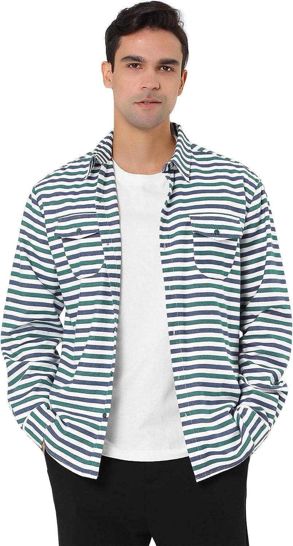 Lars Amadeus Men's Overshirt Cotton Color Block Flannel Button Down Long Sleeve Striped Shirts