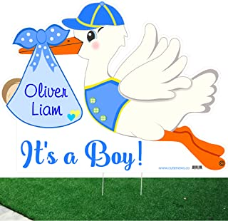 Cute News Outdoor Baby Lawn Announcement Kit - Personalized It`s a Boy Stork Yard Sign and Baby Sleeping Door Hanger - Shower Art Decoration - Welcome Home Custom Newborn Arrival, Blue
