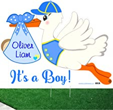 Outdoor New Baby Yard Sign Kit - Custom It's a Boy Stork and Baby Sleeping Door Hanger - Personalized Newborn Lawn Announcement - Blue Shower Party Decoration - Welcome Home Arrival