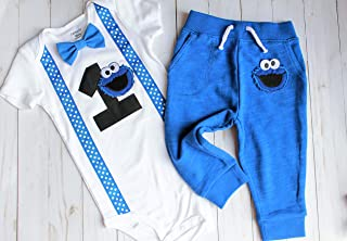 First Birthday Outfit Boy, First Birthday Cookie Monster Outfit