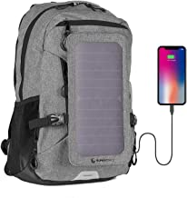 Sunnybag Explorer+ Solar Backpack   World's Strongest Solar Panel for Charging Smartphones and All USB-Devices on The go   15L Volume and 15'' Laptop Compartment   Gray/Black