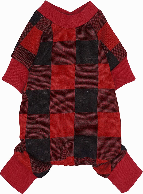 Fitwarm 100/% Cotton Buffalo Plaid Dog Clothes Puppy Pajamas Pet Apparel Cat Onesies Jammies Doggie Jumpsuits