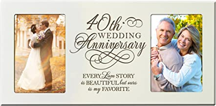 LifeSong Milestones 40th Wedding for Couple 40 Year Anniversary Ideas Every Love Story is Beautiful but Ours is My Favorite Anniversary Picture Frame Gift for Photo Frame Holds 2-4x6 Photos (Ivory)