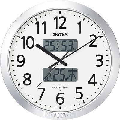 掛け時計 電波時計 36回チャイム機能 温度・湿度計付き シルバー リズム(RHYTHM) 4FN404SR19