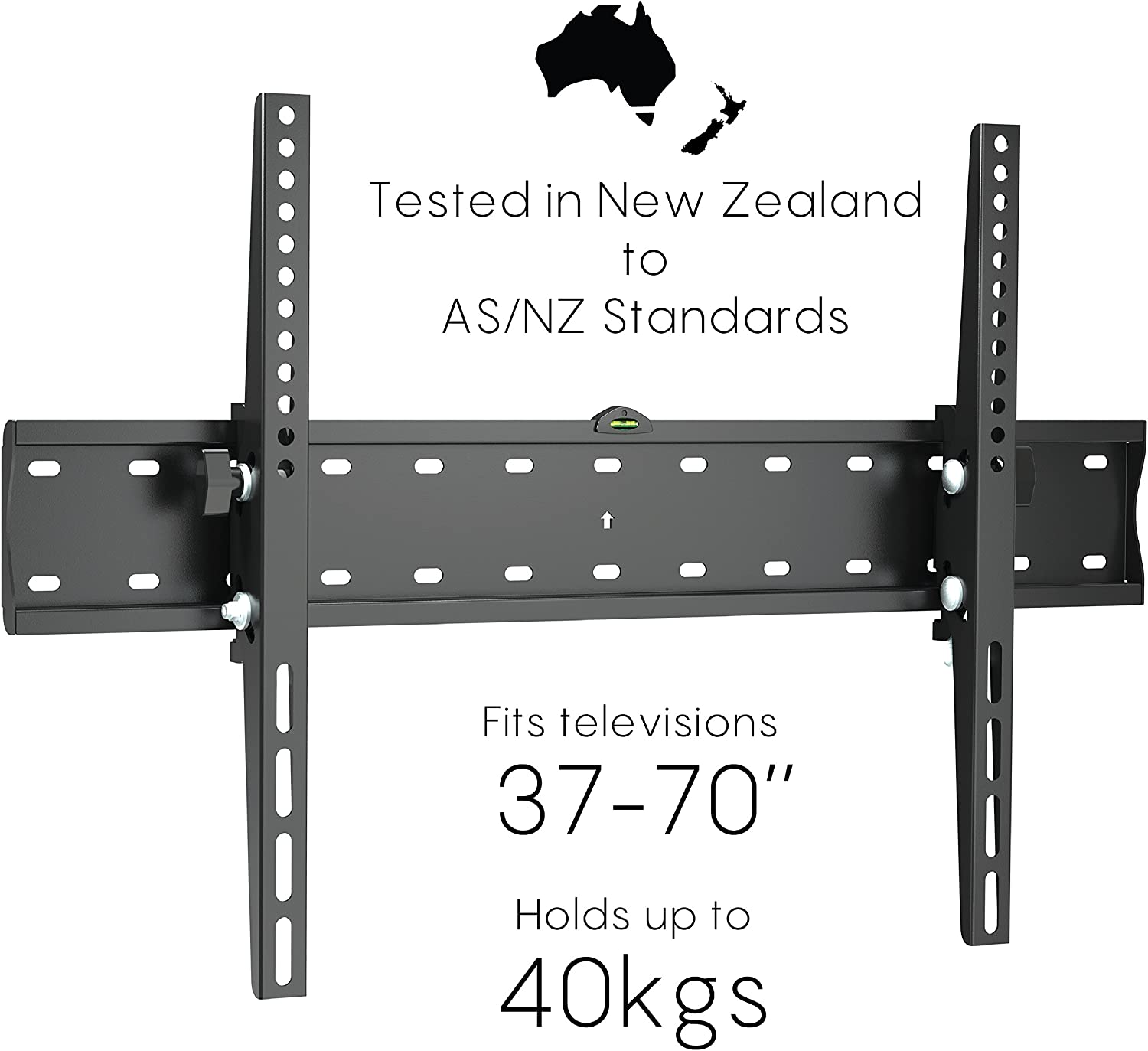 Black Dot TV Wall Mount, 37 -70  Slim line Bracket with Tilt. Holds up to 40kg, Vesa mounting up to 600 x 400, 10 Year gaurantee, Tested to AS NZ standards.