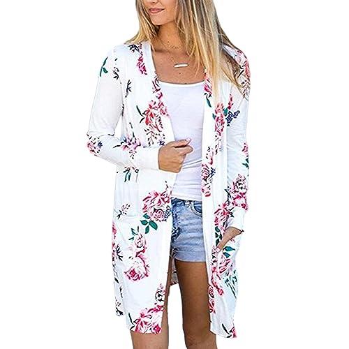 d9211cd62f Ecowish Womens Boho Irregular Long Sleeve Wrap Kimono Cardigans Casual  Coverup Coat Tops Outwear S-