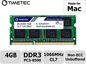 Timetec Hynix IC 4GB Compatible for Apple DDR3 1067MHz / 1066MHz PC3-8500 SODIMM Memory RAM Upgrade for Late 2008, Early/Mid/Late 2009, Mid 2010 MacBook, MacBook Pro, iMac, Mac Mini (4GB)