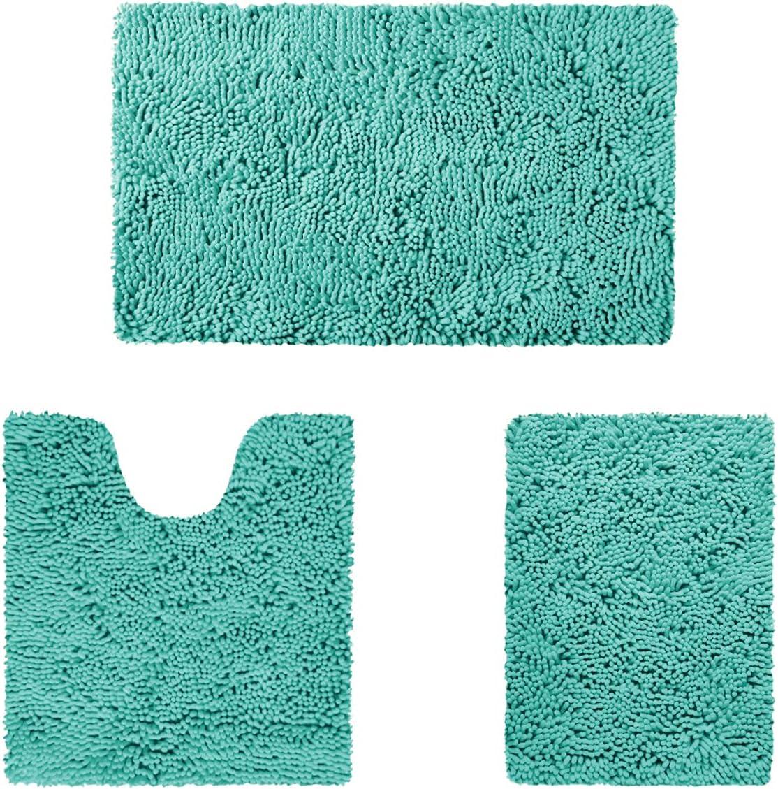 爆買い新作 HOMEIDEAS 3 Pieces Bathroom Rugs Set 信頼 and Soft Non Abs Ultra Slip