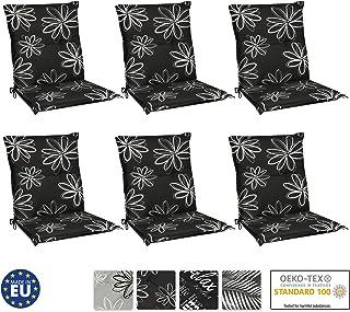 Beautissu Set de 6 Cojines para sillas de Exterior y jardín con Respaldo bajo Flores 100x50x6 cm tumbonas, mecedoras, Asientos cómodo Acolchado Resistente a Rayos UV