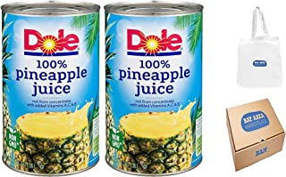 Dole Pineapple Juice, 46 oz Can, Pack of 2 (Bay Area Marketplace Tote Bag included with Purchase)