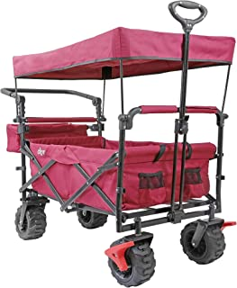 Extra Large Foldable Outdoor Wagon Cart with All Terrain Wheels and Canopy, Red 265 Lb Capacity, Easy Folding Collapsible Utility Garden Transport Trolley, Great for Beach, Park, Sports, Parties