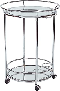 Office Star Royse Round Serving Chart with Chrome Finish and Mirror Shelves