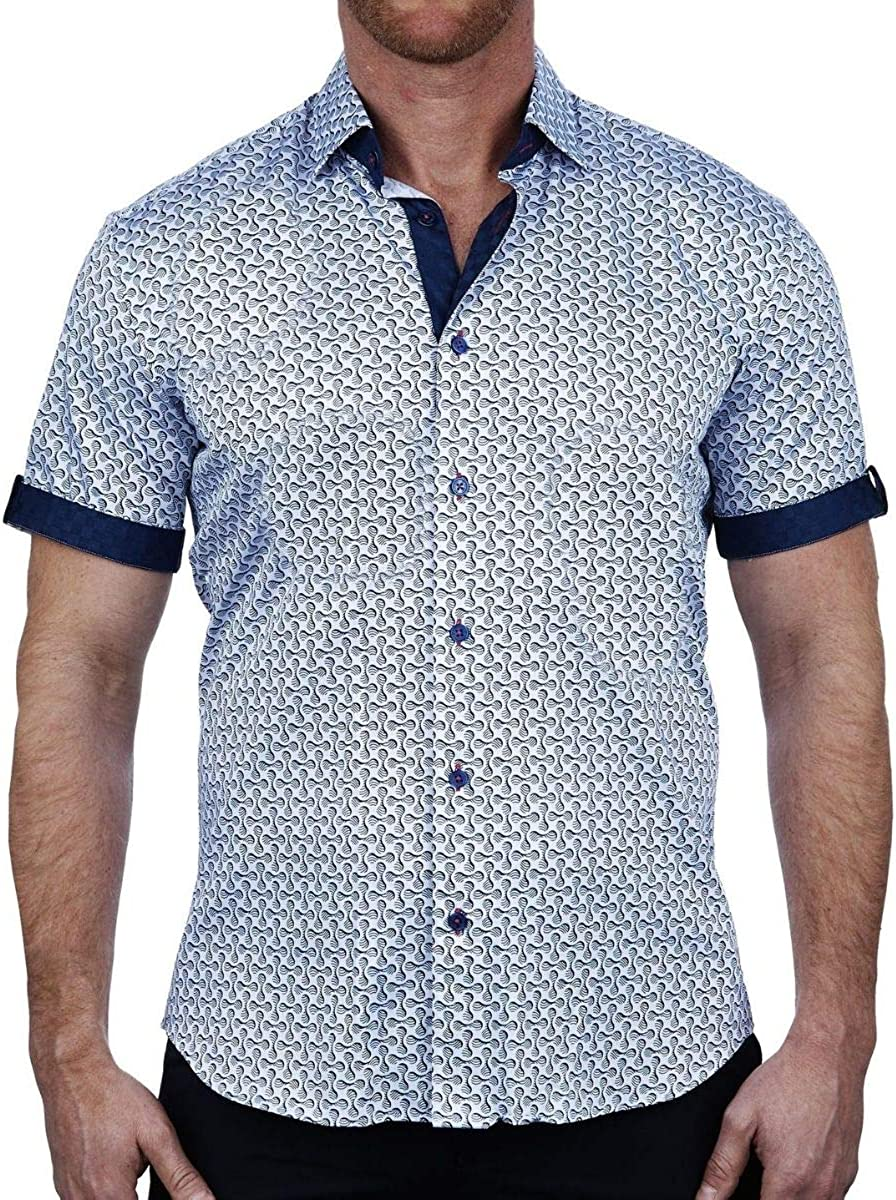 Maceoo Mens Designer Dress Shirt - Stylish & Trendy - Galileo Shape Blue - Shaped Fit