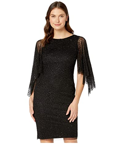 Adrianna Papell Beaded Cocktail Dress with Flutter Sleeves (Black) Women
