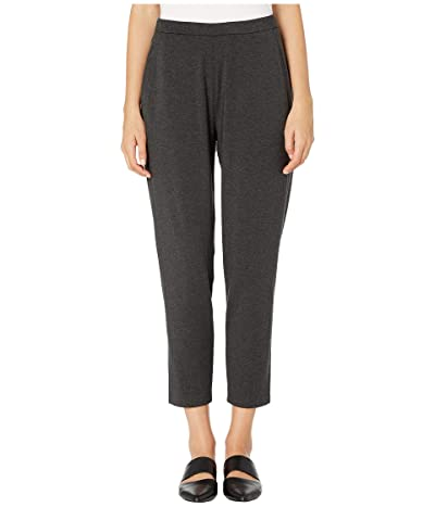 Eileen Fisher Cozy Tencel Stretch Jersey Slim Ankle Slouchy Pants (Charcoal) Women