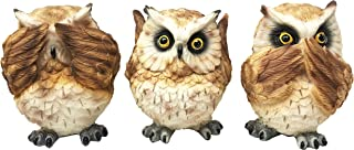 Ebros Ancient Transient Wisdom Of The Forest See Hear Speak No Evil Great Horned Owls Figurine Set Hoot Hoot Nocturnal Owl Decor Collectible Sculptures