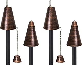"""Hawaiian Cone Tiki Style Torch - Outdoor Oil Lamp Includes 3-piece 54"""" Black Pole for Easy Set Up - 60oz Bowl with Matchin..."""