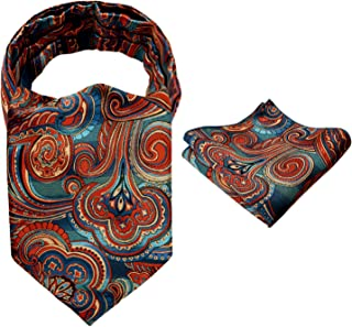 Alizeal Men's Paisley/Dot Jacquard Woven Self Cravat Tie Ascot and Pocket Square Set
